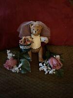 """""""Russ"""" Bear Bride  porcelain figure W/moveable arms & legs W/basket"""