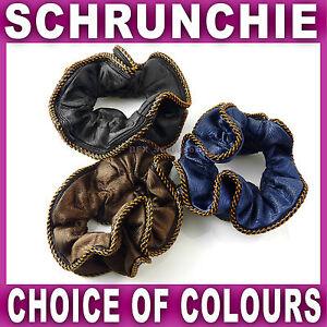 SCRUNCHIE with contrast trim 11cm wide black navy or brown elastics Ladies Girls