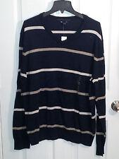 Gap Men's V-neck Raikroad Stripe Newport Blue Sweater