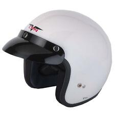 VCAN V500 Scooter Mod Motorcycle Motorbike Open Face Helmet LAMBRETTA Vespa White XL