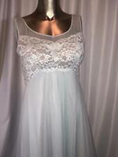 New listing Shadowline Chiffon Lt Blue Gown Size S Vtg # 080704