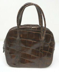 Vintage JOAN & DAVID Italy Brown Leather Crocodile Shoulder Bag Handbag