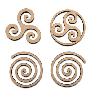 Wooden MDF Wiccan Triple Spiral Symbols Shapes Craft Embellishment Signs