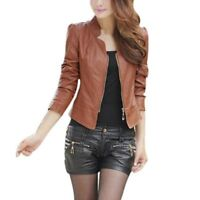 Women Vintage Slim Biker Motorcycle PU Soft Leather Zipper Jacket Coat