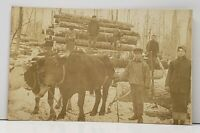 RPPC Logging Lumberjacks Ox Pennsylvania Real Photo Postcard H2