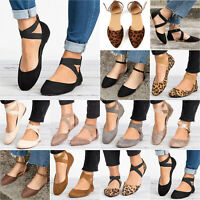 New Womens Pointed Ballet Pumps Ladies Lace Up Ballerina Sandals Shoes Size S299