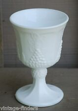 Old Vintage Harvest Milk Glass Water Goblet by Colony Grape & Leaf Pattern