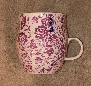 """Anthropologie HOMEGROWN MONOGRAM Letter """"j""""  14oz Mug Cup Lavender Floral"""