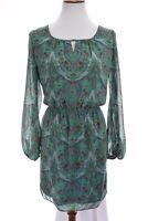 Chelsea & Violet Shift Tunic Dress Blouson Paisley Print Green Sz Small