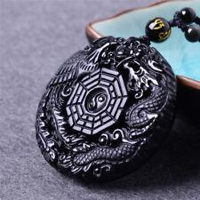 1PC Unisex Lucky Amulet Obsidian TaiJi BaGua Pendant Necklace Jewelry