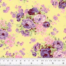 100% Cotton Fabric FQ - Rose Floral Bouquet Vintage Retro Print Dress Craft VK11