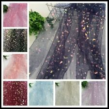 Star Moon Mesh Lace Fabric Shiny Glitter Curtains Skirts Dress Background Sewing