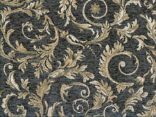 Drapery Upholstery Fabric Chenille Jacquard w/ Scrolling Leaves - Grey