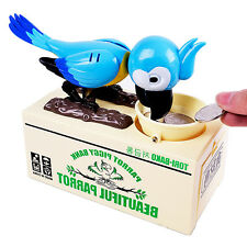 Cute Greedy Parrot Money Piggy Bank Automated Stealing Coin Saving Box Gift Blue