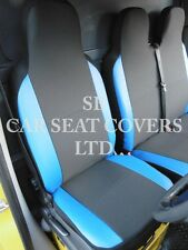 FORD TRANSIT VAN 2005 SEAT COVERS DARK GREY + BLUE LEATHERETTE  SINGLE + DOUBLE