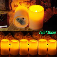 7*10cm Flameless Pillar Resin LED Candle Light W/ Timer for Indoor/Outdoor Decor