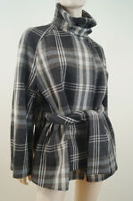 JOSEPH Grey Beige & Cream Check Virgin Wool Blend Belted Winter Jacket Coat Sz:8