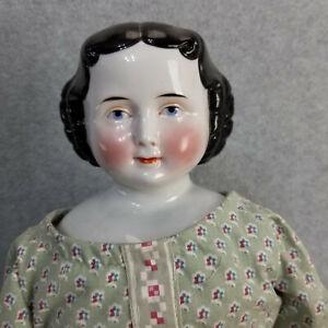 """25"""" antique German F.W. Kister China Shoulder Head Doll w cloth body 1870"""