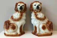 """Antique Pair Large 13"""" Staffordshire Seated Collies w Glass Eyes 19th Cen Dogs"""