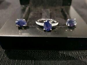 14k White Gold Natural Sapphire & Fine Diamond Set