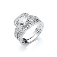 Bridal Set Sterling Silver Engagement and Wedding Ring Cluster Platinum Plated