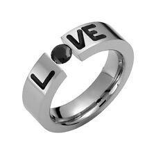 Titanium LOVE Ring Black Cubic Zirconia Tension Set Engagement Band 4 Him N Her