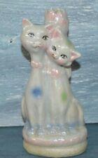 """Vintage Porcelain Cat Bud Vase Pastels Iridescent Pink Blue Green White Opal 7"""""""