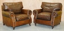 PAIR OF TIMOTHY OULTON BALMORAL HERITAGE BROWN LEATHER CLUB ARMCHAIRS
