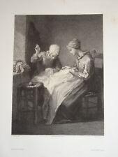 Jean François MILLET (1814-1875) BELLE LITHO FEMME COUTURE IMPRESSIONNISTE 1860