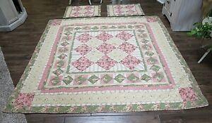 "Vintage Green Pink Beige Floral Cotton Patchwork Quilt  82"" x 84"" + 2 Shams"