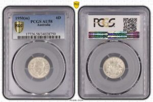 1950(m) Australia 6 Pence PCGS AU58 Highly Demanded Collectible Coin