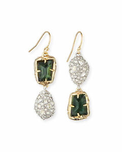 ALEXIS BITTAR MISMATCHED DOUBLE-DROP EARRINGS, GREEN/GOLD TONE