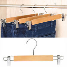 Wooden Skirt/pants Hanger with Swivel Hook Strong Durable Silver Wardrobe Clips