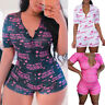 Sexy Women V Neck Leotard Printed Short Sleeve Jumpsuit Shorts Romper Bodysuit