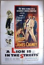 """US One sheet 1 A LION IS IN THE STREETS Movie Poster 27x41"""" Cagney Film 1953 VF"""