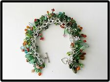 Vintage BEAD Charm BRACELET-Multi-COLORED-Handcrafted FLOWER & Leaf CHARMS-OOAK