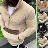 Men Warm Fluffy Hoodie Pullover Fleece Sweatshirt Hooded Pocket Sweater Jumper