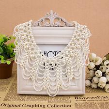 Black Handmade Imitation Pearls Hollowed Choker Bib Collar Statement Necklace