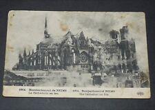 CPA CARTE POSTALE GUERRE 14-18 1914 REIMS MARNE CATHEDRALE EN FEU BOMBARDEMENT