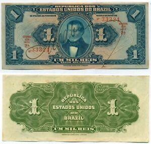 BRAZIL NOTE 1 MIL REIS (1919) P 6 AU