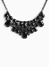 Torrid Black Gemstone Cluster Statement Necklace #1336