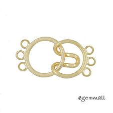 18kt Gold Plated Sterling Silver 3-Strand Round Hook and Eye Clasp #99587