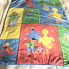 Vintage SESAME STREET SPORTS Baby Crib Sheet Blanket Pillow Case Elmo Cookie