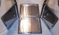 3 Full-Size Steam Table Pan Cover, Hinged Flat Hotel Chafing Dish Folding Lid