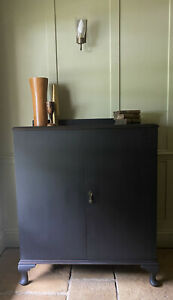 Antique Black Painted Mahogany Linen Press Cabinet Cupboard