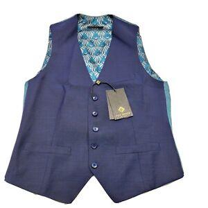 Ted Baker Men's 36 Regular Blue Fashion Fit Debonair Plain Waistcoat Suit Vest