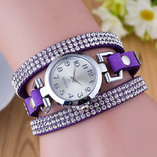 Fashion Women Wrist Watches Bracelet Watch Leather Crystal Quartz Dress