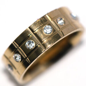 Around Crystal CZ Yellow Gold Womens Mens Band Ring Jewelry Hiphop Ring Size 8