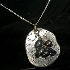 """Design Pendant Necklace 18"""" Long Estate Sterling Silver Peacock Pearl Organic"""
