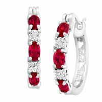 2 ct Created Ruby Hoop Earrings with Diamonds in Platinum-Plated Brass